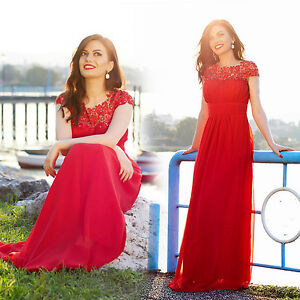 Details about Ever-pretty UK Lace Red Bridesmaid