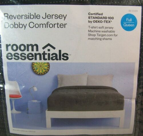 Room Essentials Reversible Jersey Dobby Comforter Full Queen Black w/ Speckles