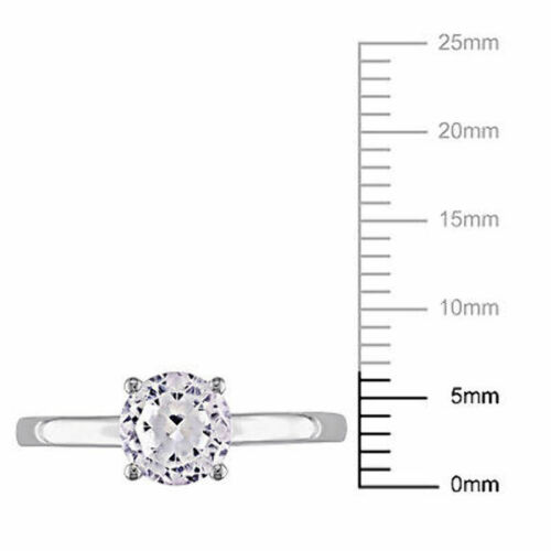 10k White Gold 1 1//4 Ct TGW White Sapphire Solitaire Engagement Ring