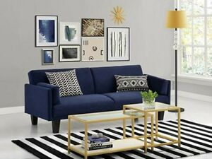Image Is Loading Convertible Futon Sofa Navy Blue Bed Dorm Room