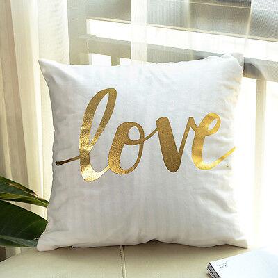 Vintage Gold Love Letter Sofa Waist Throw Pillow Case Cushion Cover Romantic Art