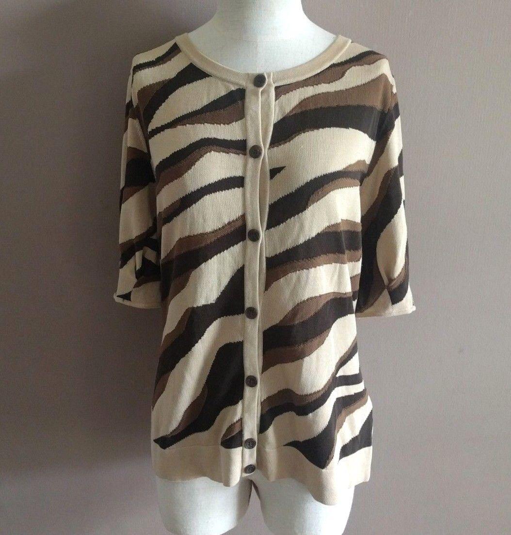 Lafayette 148 NY Women's M Cardigan Sweater Cotton Short Sleeve Career Brown Tan