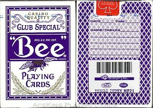 1-Purple-Deck-Bee-Bally-Casino-Playing-Cards-VERY-RARE-Mindplay-marked-deck