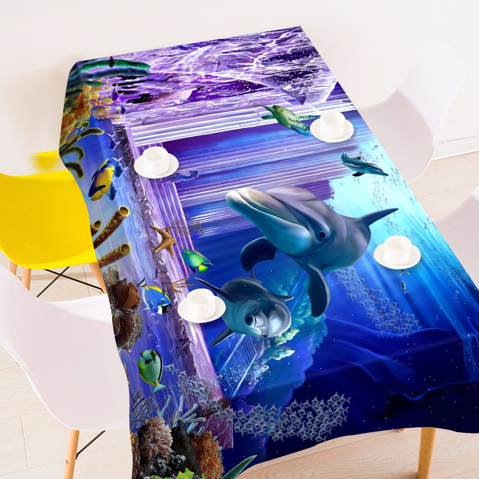 3D Dolphin 44 Nappe Table Cover Cloth fête d'anniversaire AJ papier peint Royaume-Uni Citron