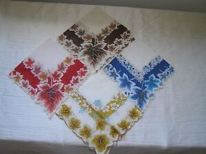 Vintage Lot of 4 Brown Orange Yellow Blue Maple Leaf Leaves w Scalloped Edge