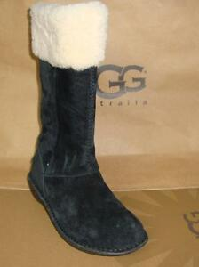 27bf97e8545 Details about UGG Australia KARYN Black Suede Sheepskin Cuff Tall Boots  Size US 5 NEW #1005449