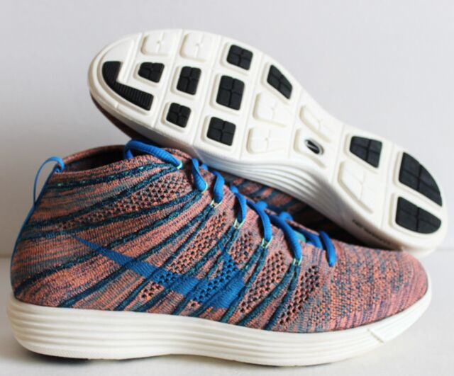 reputable site 7845a e6b51 Nike Lunar Flyknit Chukka Blue Mineral Teal Green Glow Size 9.5 US