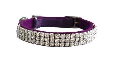 ~*~Cat Safety Collar ELEGANT Diamanté Crystal Suede~Black-Blue-Pink-Red~30cm~*~