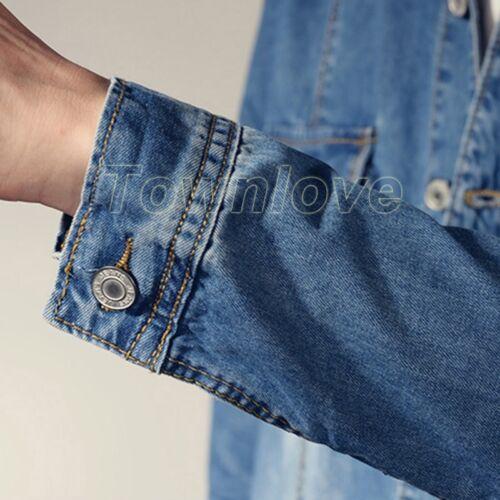 Mens Vintage Casual Denim Overalls Jumpsuits Jean Slim Coat Rompers Cowboy Pants