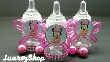 12 Fillable Minnie Mouse Bottles for Baby Shower Pink Party Decorations for Girl