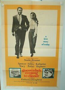 GUESS-WHO-039-S-COMING-TO-DINNER-VG-F-One-Sheet-1967-Tracy-Poitier-ORIGINAL