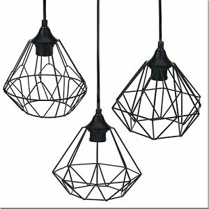 Image Is Loading Modern Black Geometric Metal Wire Hanging Ceiling Light
