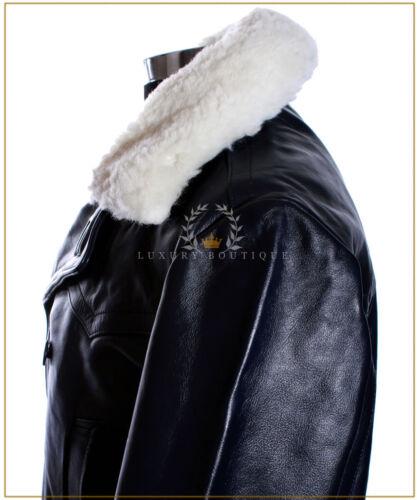 Men/'s Kriegsmarine Blue Fur Collar New WW2 German Leather Deck Jacket Pea Coat