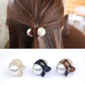 Women Hair Clip Faux Pearls Lady Hairpins Fashion Headwear Claw Rhinestone Grips