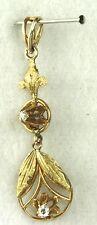VICTORIAN ART NOUVEAU ANTIQUE 14K GOLD DIAMOND LAVALIERE PENDANT