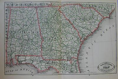 Map Of Northern Florida And Georgia.1883 Alabama Georgia South Carolina North Florida 2 Page Antique Rr Map Ebay