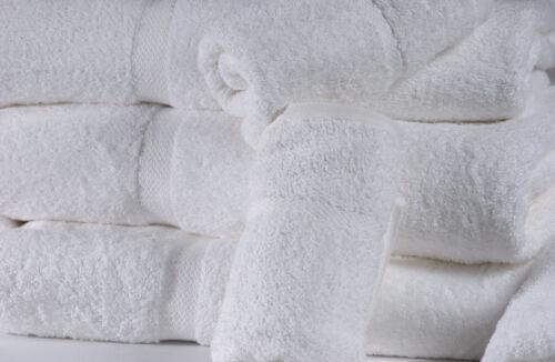 3 white cotton hotel bath towels large 27x54 *premium* dobbby border 17# dozen