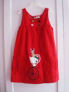 H&M Mädchen Kleid / Tunika Gr. 110 Rot Katzenmotiv super ...