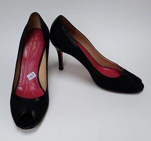 38c446b012bb Kate Spade Shoes Heels Black Pumps Peep Toe Fabric Italy Womens Size ...