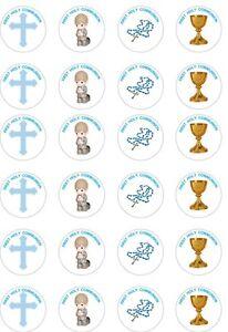 24 x PRECUT BOYS/BLUE FIRST HOLY COMMUNION RICE/WAFER ...