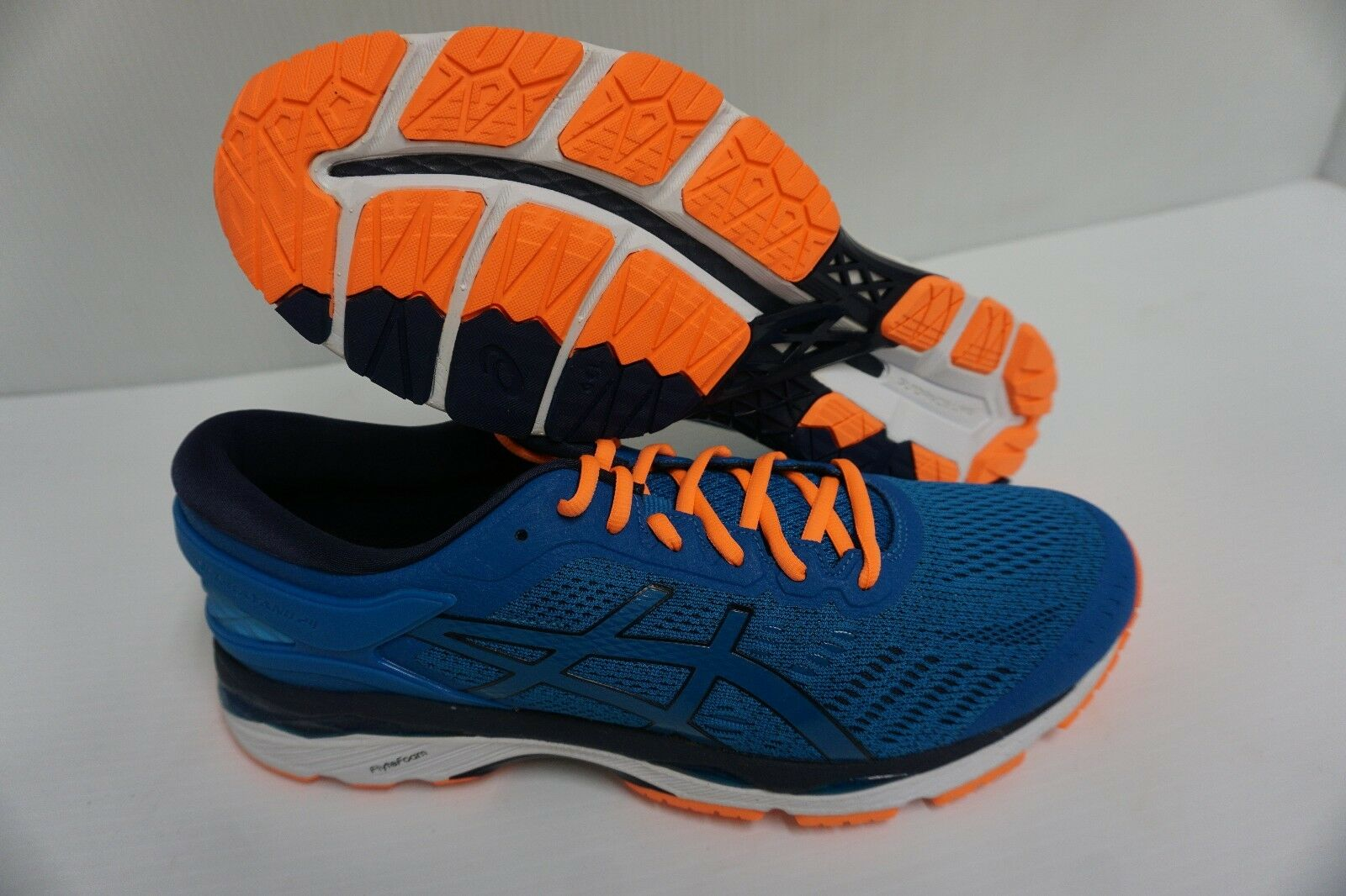 Asics men's gel kayano 24 running shoes directoire blue hot orange size 10 us
