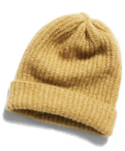 Free People Lullaby Ribbed Beanie Stocking Cap Hat OSFA Camel New Oversize