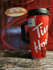 Tim Hortons 2019 Red Hockey WHIRLEY Large Plastic Travel Mug 16 oz NEW 2019
