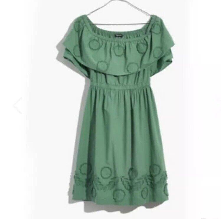 Madewell Appliquéd Off the Shoulder Grün Dress 8