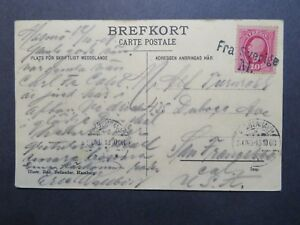 Sweden-1908-Ship-Postcard-to-USA-034-Fra-Sverige-M-034-Cancel-Z7894