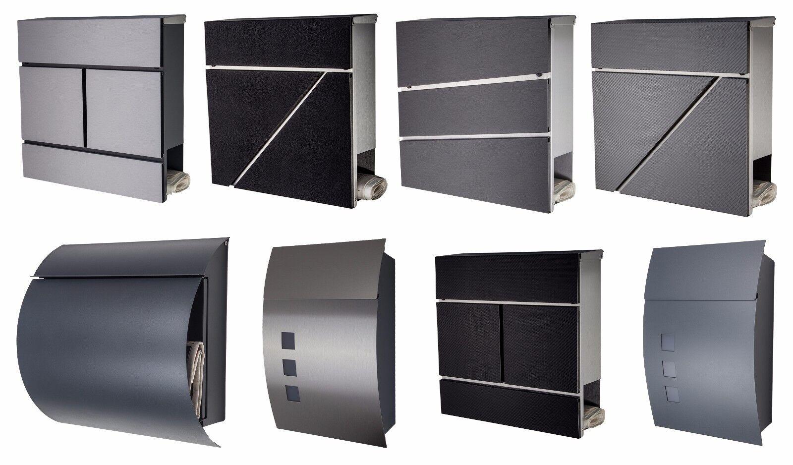 Designer Briefkasten Mailbox   Edelstahl   anthrazit   schwarz   weiß   grau NEU