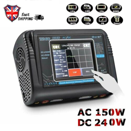 Dual Channel 10A RC Balance Lipo Battery Charger HTRC T240 DUO AC 150W DC 240W