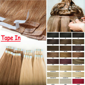 European-Remy-Human-Hair-Extensions-Tape-In-Black-Brown-Blonde-Can-be-Styled-AU