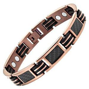 Willis-Judd-New-Mens-Black-Carbon-Fiber-Titanium-Magnetic-Bracelet-Free-Adjuster