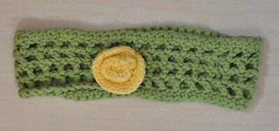 Sinnvoll Gehäkeltes Baby Kleinkind Mädchen Stirnband Haarbandgrün Gelbe Blume Ca. 20cm Online Shop