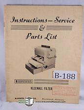 Barnesdril Kleenall Filter Instructions, Parts Manual Year (1954)