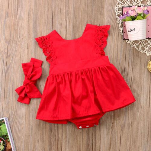 2Pcs Christmas Newborn Baby Girls Romper Dress Jumpsuit Outfits TuTu Clothe Gift