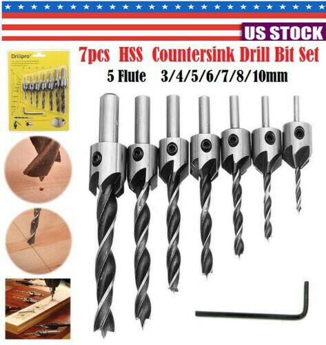 Carpentry 10mm BEST T3D5 7 pcs Drill Bit Wood 5 Flute HSS Countersink Set 3
