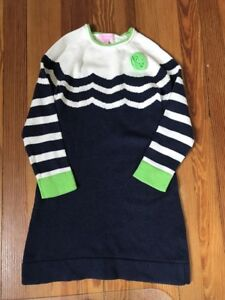 832c3012187 Lilly Pulitzer Girls Sweater Dress Size 8 Navy Blue Striped Green ...