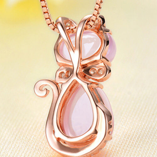 HOT Crystal Rose Gold Plated Fashion Choker Chain Pink Cat Pendant Necklace