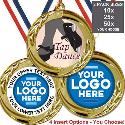 TAP DANCE METAL MEDALS 50mm PACK OF 10,RIBBONS,INSERTS or OWN LOGO /& TEXT