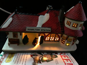 Lemax Hearthside Porcelain Lighted House 1994 #65231 Hamilton Station Perfect