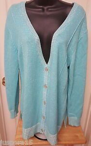 Sweater Plus Nwt 14 16 Kvinders Button Grøn Hvid Down Bryant Blå Top Lane wxz1qBfF