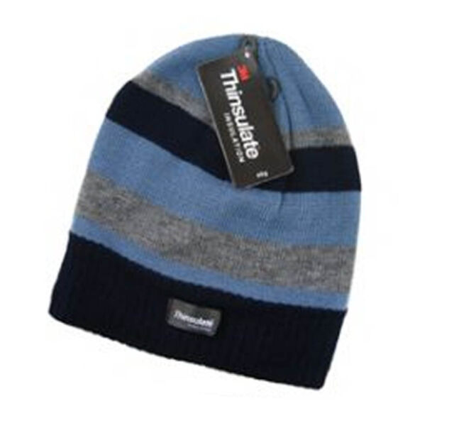 Boys Black Cream Grey Stripe Thinsulate Thermal Beanie Hat - up to ... 0783bd9f159