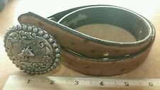"Wrangler Leather Cow Belt W/ Buckle 24"" Waist Western Cowgirl Rodeo Bull Rider"