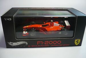 FERRARI-F1-2000-M-SCHUMACHER-JAPAN-GP-2000-1-43-MATTEL-HOT-WHEELS-ELITE