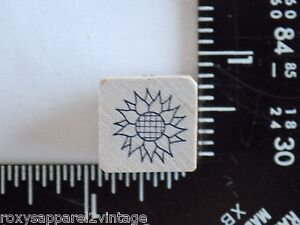 Sunflower-Wood-Mounted-Rubber-Stamp-3-4-034-Square-Gently-Used-Condition