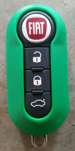 New GREEN  Case for FIAT 500 3 Button Remote Flip Key Fob LTQF12AM433TX