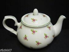Dot Rose English Fine Bone China 6 Cup Tea Pot By Milton China (Green Rim)