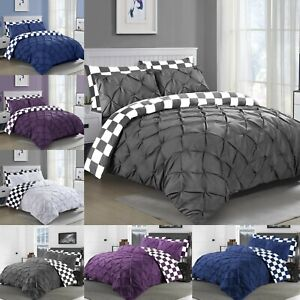 NEW-CHESS-PINTUCK-BEDDING-DUVET-COVER-SET-100-COTTON-DOUBLE-SUPER-KING-BED-SIZE