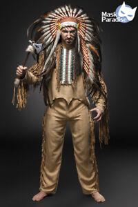 Indianer-Kostuem-American-Herren-Fasching-Karneval-Verkleidung-Halloween-NEU
